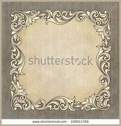 Vector vintage border frame engraving at grunge background with retro ornament pattern in antique baroque style decorative design invitation card