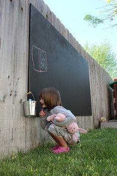 Backyard chalkboard--less mess and the rain washes it away--such a good idea!   use birch plywood. First we painted the front and back with primer to seal it, and then we just painted the front with a quart of chalkboard paint. Attached it to the fence with galvanized wood screws.