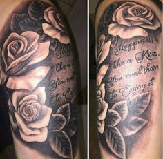 #tattoo #arm #beautiful #roses #quote #happiness #iloveit ❤