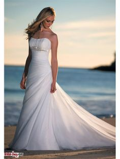 Princess Style Ruched Beading Court Train Long White Organza Beach Wedding Dress