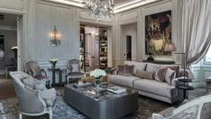 Majestic chandeliers by Mathieu Lustrerie in the suit designed by Karl Lagerfeld for Hotel de Crillon