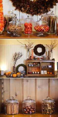 love the idea of decorating the room with autumn stuff but maybe in a not so neat way