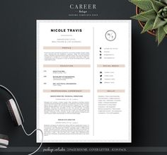 Modern Resume & CoverLetter Template by careerboutique on @creativemarket…