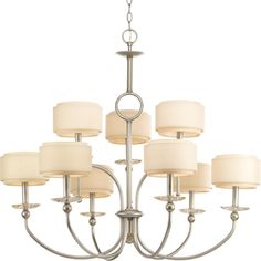 Nine Light Silver Ridge Thistle Weave With Toasted Linen Finish Glass Drum Shade Chandelier : 1ND1E | Dulles Electric Supply Corp.