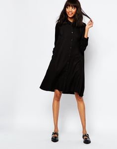 minimal chic: black oversize dress #casual #outfits