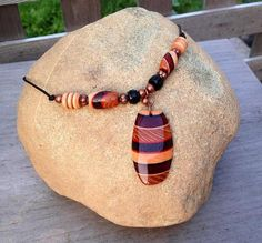OOAK Retro Hippie Gypsy Pendant Handmade Exotic Wood Bead Necklace Copper and Leather Jewelry    by WoodenItBeadLovely, $89.00 USD