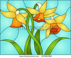 Image result for stained glass potted flowers