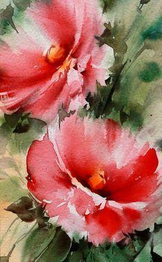 100% origineel ondertekend aquarel bloem rozen schilderij #watercolorarts