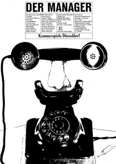Heinz Edelmann, Poster Illustration, 1964. Der Manager, Kammerspiele Düsseldorf