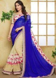 Bridal Wear Blue Georgette Heavy Embroidery Work Lehenga Saree