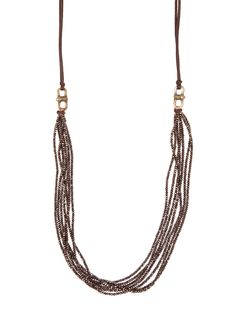 Cynthia Dugan Dark Brown Seven Strand Crystal and Leather Necklace - Lucky number 7 is the amount of cool, crystal strands on this whimsical necklace from Cynthia Dugan. Slip on.