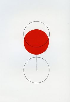 Alan Fletcher (he loves simple and colourful, especially his signature red circle) This is such a smart piece of design - simple but goes beyond one's imagination. [Uyen N.] 2 blank circles, one red circle, and a straight line, create the illusion of what appears to be a glass of wine.