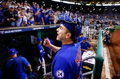 Miguel Montero, CHC, greets Cubs fans in PIT after the win in the NL Wild Card, Oct 2015
