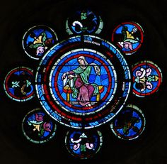La geometría, vitral del medallón del rosetón del transepto norte de la Catedral de Laon; comienzos del siglo XIII.