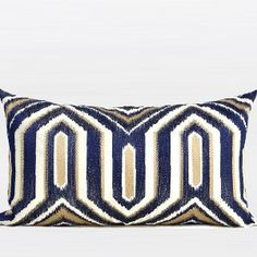 G Home Collection Luxury Blue Classical Geometry Pattern Embroidered Pillow Cover Throw Pillow Sets, Lumbar Pillow, Geometry Pattern, Decorative Pillow Cases, Decorative Cushions, Cushion Pads, Cushion Pillow, Outdoor Throw Pillows, Décor Pillows