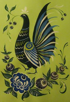 Folk Gorodets painting from Russia. A floral pattern with a pheasant. #art #folk…