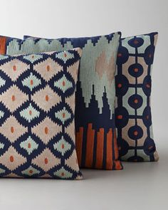 Ikat Embroidered Pillows --digging the colors