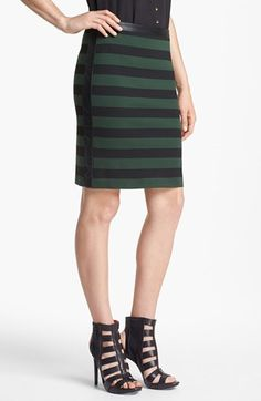 Vince Camuto Faux Leather Trim Stripe Pencil Skirt - available at Nordstrom