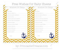 Goldenrod Chevron  Nautical Wishes for Baby Sheets