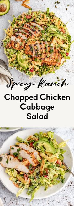 Spicy ranch chopped chicken cabbage salad made with a rainbow of veggies like bell pepper, carrots, crunchy cabbage, sweet corn and a kick of heat from jalapeño. Top this healthy chopped chicken salad with a homemade spicy greek yogurt ranch dressing for a deliciously filling salad that will keep you satisfied! #chicken #salad #cabbage #choppedsalad #healthylunch #mealprep #dinner