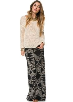 """See MoreBILLABONGProducts Item #BBG0206ONB  Fitted knit maxi skirt. Allover geometric print. Length from center front to hem: 39.5 inches. 95% Cotton/ 5% Spandex. Vendor style #: JK115ONB. Imported.  *Model is 5'11"""" wearing a size medium. Bust 32"""" Waist 25"""" Hips 34"""".  Throw on your fave graphic tee and a gladiator sandal with this killer maxi!"""