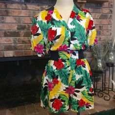 VINTAGE Island Print Linen Romper Sz med. linen type material. Button up, super fun romper wear with boots and a floor length sweater for temperate winter, or with sandals and a head scarf for tropical vacation Vintage Pants Jumpsuits & Rompers