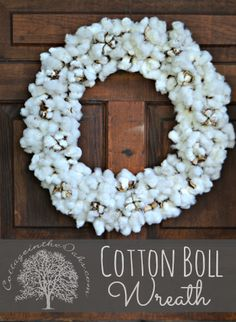 cotton boll wreath, crafts, wreaths, Wreath made from cotton bolls Wreath Crafts, Diy Wreath, Diy Crafts, Wreath Ideas, Christmas Crafts, Christmas Decorations, Holiday Decor, Hanging Decorations, Cotton Wreath