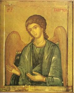 Synaxis of the Archangel Gabriel 26 April Archangel Gabriel, Archangel Michael, Byzantine Art, Byzantine Icons, Religious Icons, Religious Art, Russian Icons, Angels Among Us, Jesus Pictures