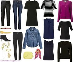 A casual capsule wardrobe for women over 40. Denim-based casual wardrobe for a relaxed work environment.