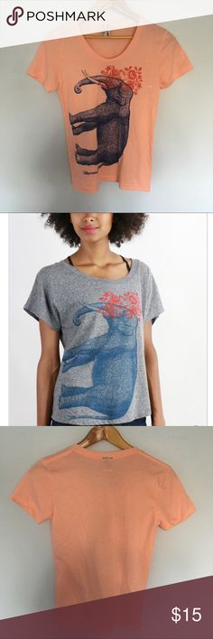 Superman give Peach Elephant Tee Shirt Med Sweet elephant tee shirt by Texas start up company Supermaggie. This tee has some slight discoloration but it still has a life in it and belongs on someone's body and not a landfill somewhere. If it fit me I would be keeping it. Tops Tees - Short Sleeve