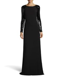 Open-Back Long-Sleeve Knit Gown, Black by Halston Heritage at Neiman Marcus.