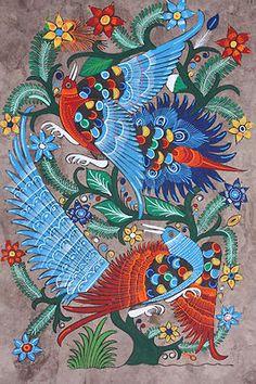 Mexican Handpainted Amate Bark Native Folk Art
