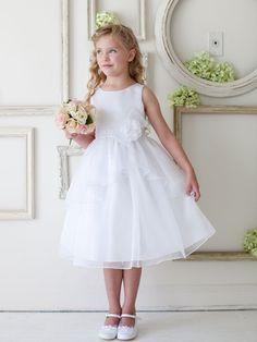 White Satin and Organza Overlay Flower Girl Dress