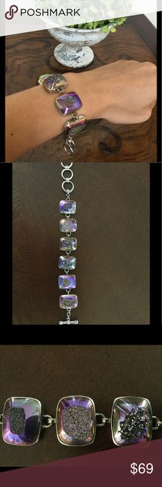 Unique Sterling Silver Purple Stone Bracelet Unique bracelet - Sterling Silver paired with 6 different distressed purple stones - adjustable toggle clasp - no trades please - happy to answer any questions you may have :) Jewelry Bracelets