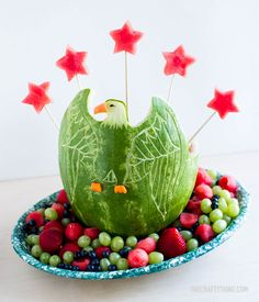 Fourth of July Watermelon Eagle | OneCraftyThing.com