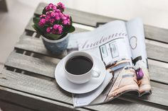 #caf #coffee #drink #flower #magazine #newspaper #read #reading #sunday