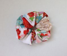 Scrunchie - Kimono Fabric, Japanese Accessory, Japanese Hair Tie, Srunchy, Shushu, Ponytail Holder, Japanese Textile, Handmade