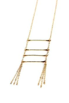 Ladder Tassel Necklace by FashionAble. Handmade in Nashville, TN with ethically sourced materials; made with 14K gold fill.