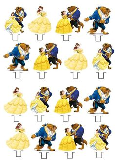 Beauty and The Beast STAND UP Cupcake Fairy Cake Toppers Edible Decorations
