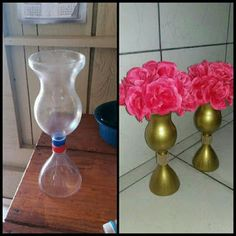 Make A Candle Holder With Plastic Bottles Reuse Plastic Bottles, Plastic Bottle Flowers, Plastic Bottle Crafts, Diy Bottle, Recycled Bottles, Recycled Crafts, Diy And Crafts, Paper Crafts, Garrafa Diy