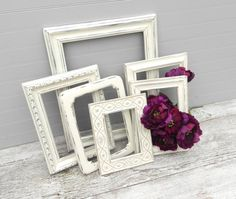 Shabby Chic Heirloom White Frame Collection, Six Upcycled Photo Frames, Holiday Photo Decor, Wedding Decor Frames on Etsy, $70.00
