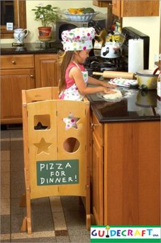 kitchen helper by Guidecraft. Safe alternative to the kitchen stool for a little helper. Has a chalk board on one side and a dry-erase board on the other. Folds flat for storage. Tan Kitchen, Little Kitchen, Kitchen Stuff, Kitchen Ideas, Kitchen Design, Kitchen Step Stool, Kitchen Stools, Step Stools, Disney Frozen