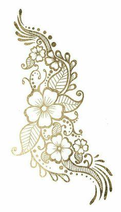 Gold Henna Flower Tattoo Gold Tattoo by goldenfeathertattoos Henna Flower Designs, Flower Henna, Beautiful Henna Designs, Henna Tattoo Designs, Mehndi Designs, Tattoo Flowers, Henna Tattoo Hip, Gold Tattoo, Metal Tattoo