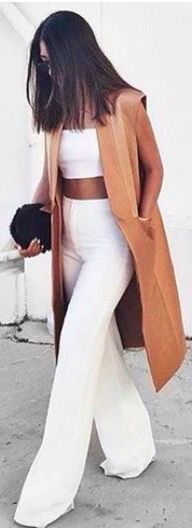 High waisted pants, crop top and Carmel coat, I need this