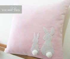 Sewing Pillows Two Little Lovely Rabbits Soft Pink Pillow Cover. Cute Pillows, Pink Pillows, Throw Pillows, Easter Pillows, Sewing Crafts, Sewing Projects, Sewing Ideas, Pink Pillow Covers, Sewing Pillows