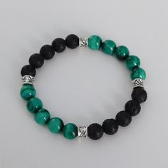 Malachite bracelet - Mens bracelet - Lava Rock Stone bracelet - Beaded bracelet by LevenimOfficial on Etsy https://www.etsy.com/uk/listing/573311682/malachite-bracelet-mens-bracelet-lava