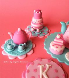 Set of teacup and teapot party toppers by CakesbyAngela on Etsy