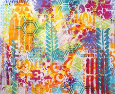 Carolyn Dube using lots of Stencils including quatrefoil, honeycomb, & kaleidoscope