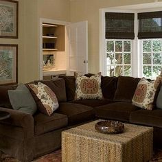 brown living room decorating ideas in stone-textured wall | Living ...