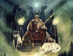 Odin on Hlidskjalf with Geri and Freki